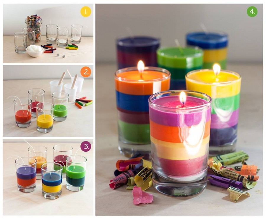 how to make crayon-candles at home